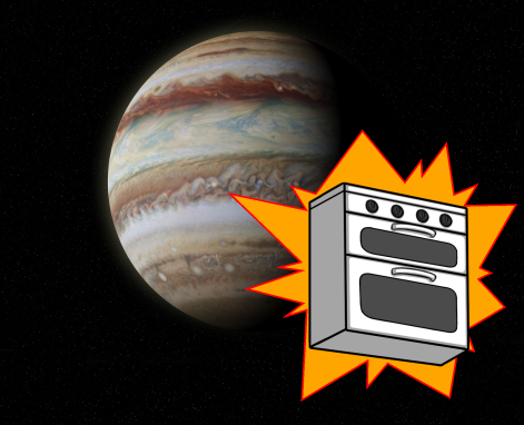 A picture of a half-shadowed Jupiter in space, with a white oven in front. The oven has a dramatic spiky orange bubble behind it.