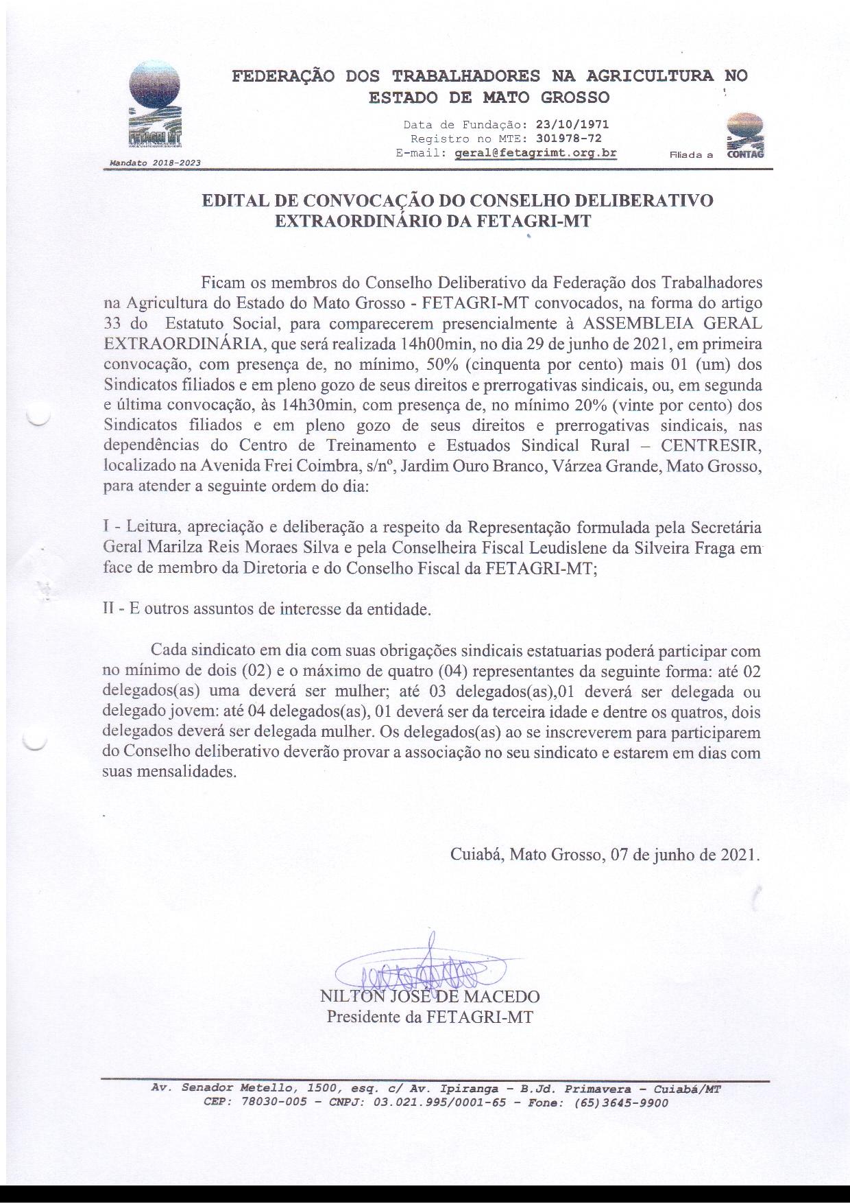 EDITAL DE CONVOCAÇÃO DO CONSELHO DELIBERATIVO EXTRAORDINÁRIO DA FETAGRI-MT