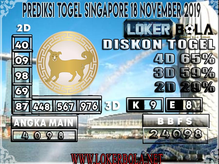 PREDIKSI TOGEL SINGAPORE LOKERBOLA 18 NOVEMBER 2019