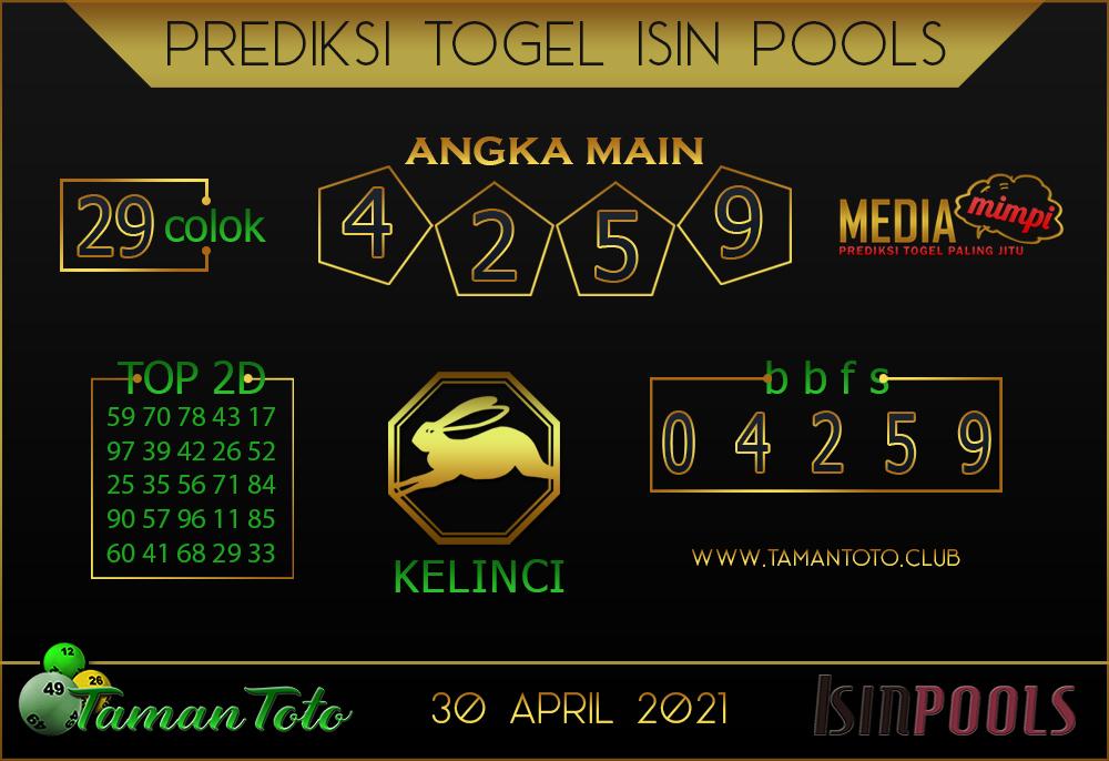 Prediksi Togel ISIN TAMAN TOTO 30 APRIL 2021