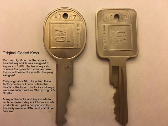 1969 CAMARO complete set of 5 LOCKS WITH KEYS
