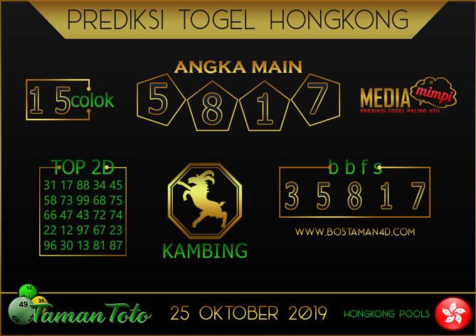 Prediksi Togel HONGKONG TAMAN TOTO 25 OKTOBER 2019