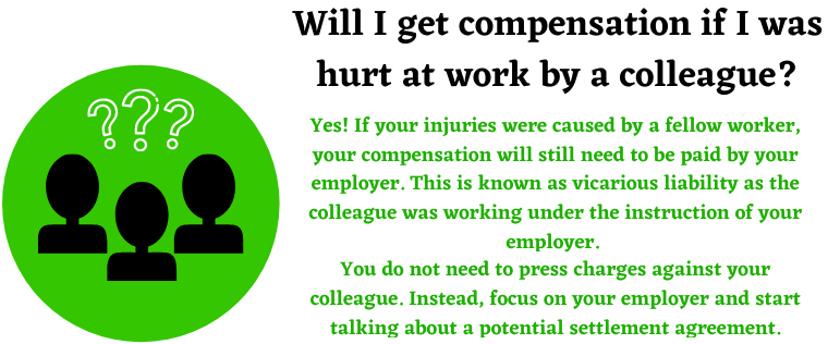hurt by a colleague compensation