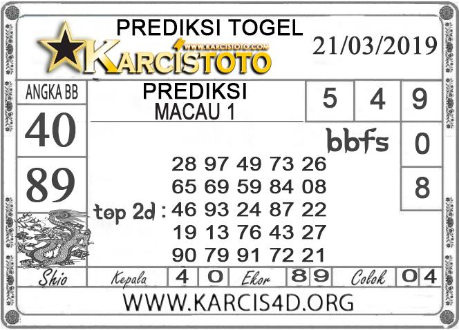 Prediksi Togel  MACAU 1 KARCISTOTO 21 MARET 2019