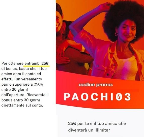 Illimity PROMOZIONE 25,00€ DI BENVENUTO + 25,00 €/invito Scadenza 20/02/2020 + interessi fino 2% 1-Codice-Senza-Invita2