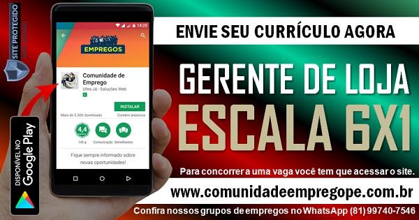 GERENTE DE LOJA PARA SUPERMERCADO EM JABOATÃO DOS GUARARAPES