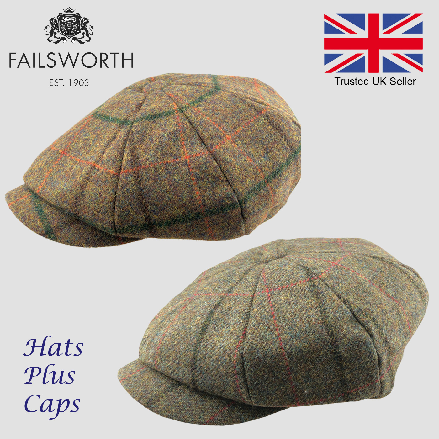 3a03c6dd Details about Failsworth Alfie Peaky Blinders Newsboy Cap English Tweed 100%  Wool Country Hat