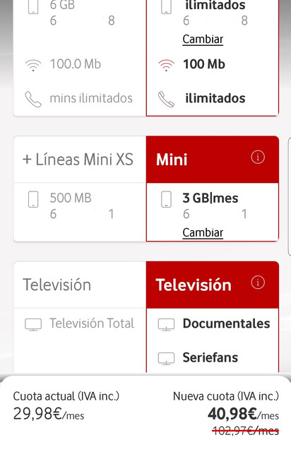 Oferta en Mi Vodafone
