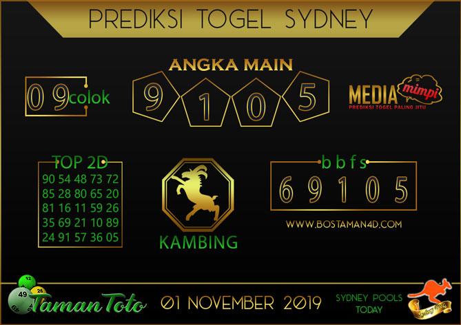 Prediksi Togel SYDNEY TAMAN TOTO 01 NOVEMBER 2019