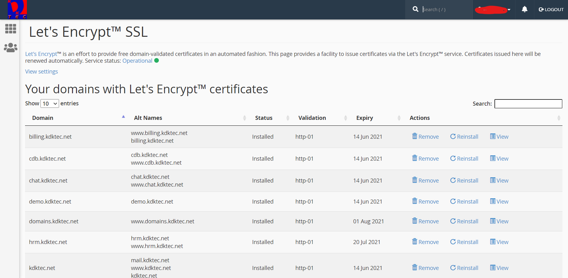 Let's Encrypt SSL certificate service options inside cPanel