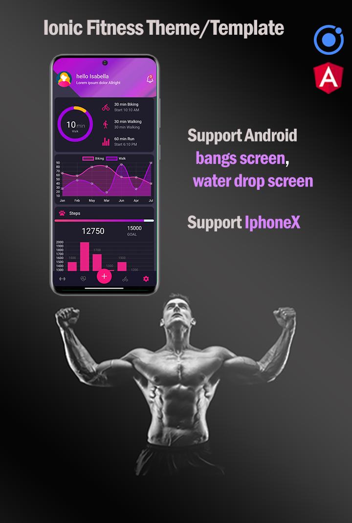 Ionic 6 / Angular 10 Fitness UI Theme / Template App | Starter App