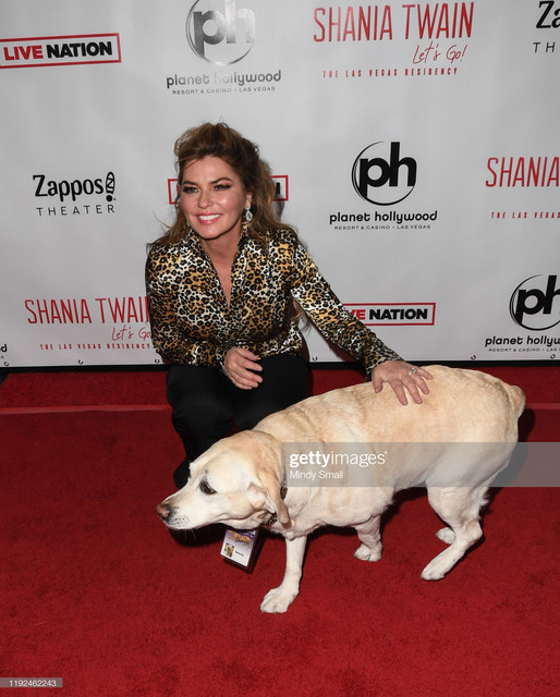 LAS-VEGAS-NEVADA-DECEMBER-06-Singer-Shania-Twain-L-and-Melody-attend-the-grand-opening-of-Shania-Twa