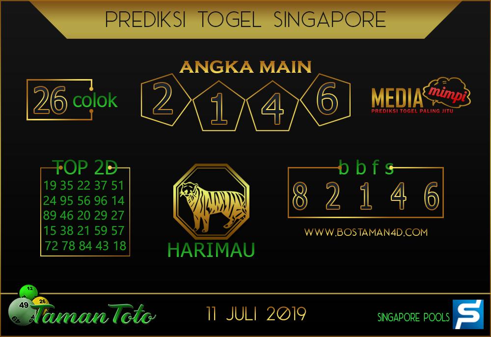 Prediksi Togel SINGAPORE TAMAN TOTO 11 JULI 2019