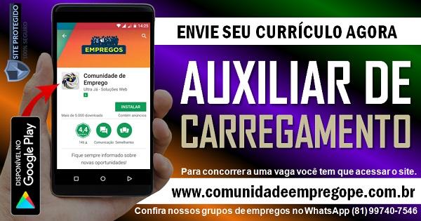 AUXILIAR DE CARREGAMENTO COM SALÁRIO R$ 1254,99 PARA EMPRESA ALIMENTÍCIA
