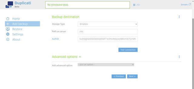 Duplicati define storage provider
