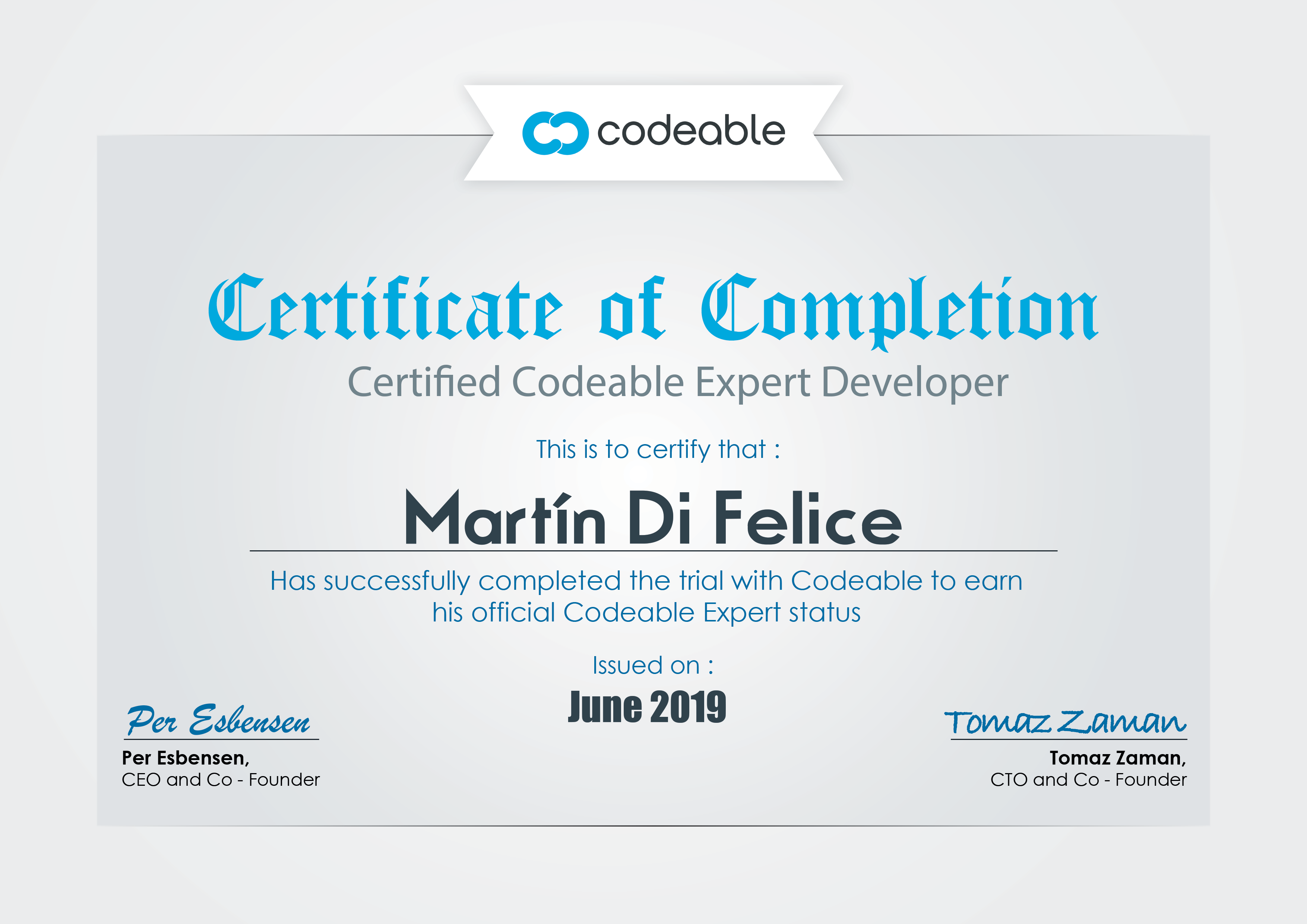 Martin's Codeable Certificate