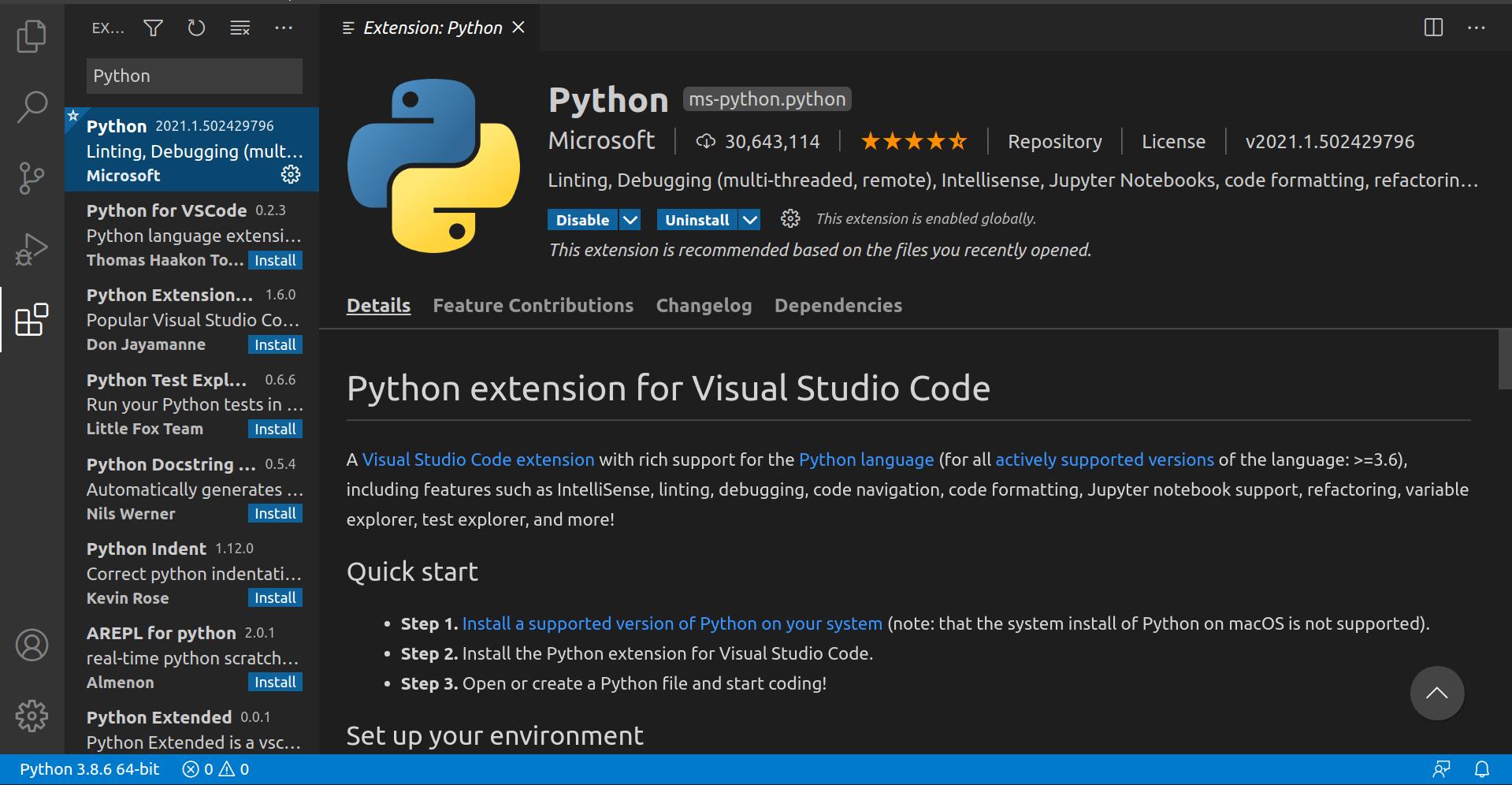 VS Code Python Extenion