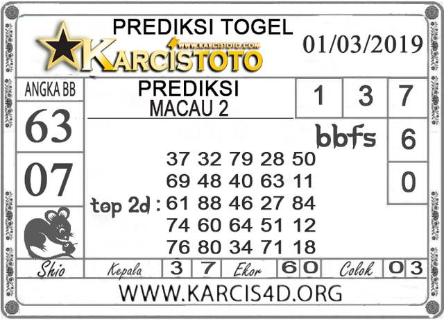 Prediksi Togel MACAU 2 KARCISTOTO 01 MARET 2019