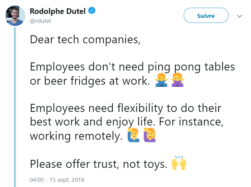 tweet de @rdutel Please offer trust, not toys.