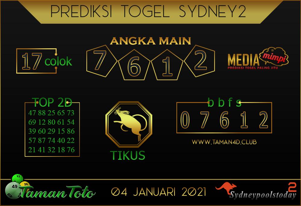 Prediksi Togel SYDNEY 2 TAMAN TOTO 04 JANUARI 2021