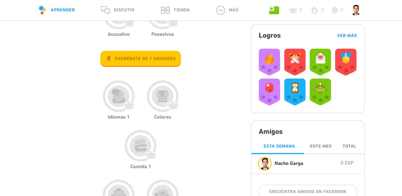 Al descargar gratis e iniciar sesión en Duolingo para PC, así se verá su interfaz.