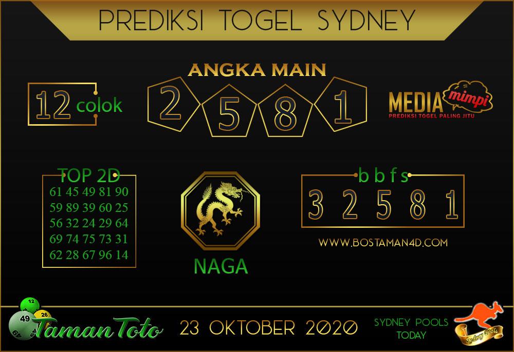 Prediksi Togel SYDNEY TAMAN TOTO 23 OKTOBER 2020