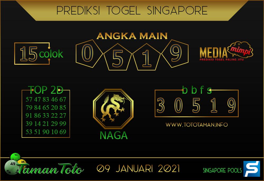 Prediksi Togel SINGAPORE TAMAN TOTO 09 JANUARI 2021