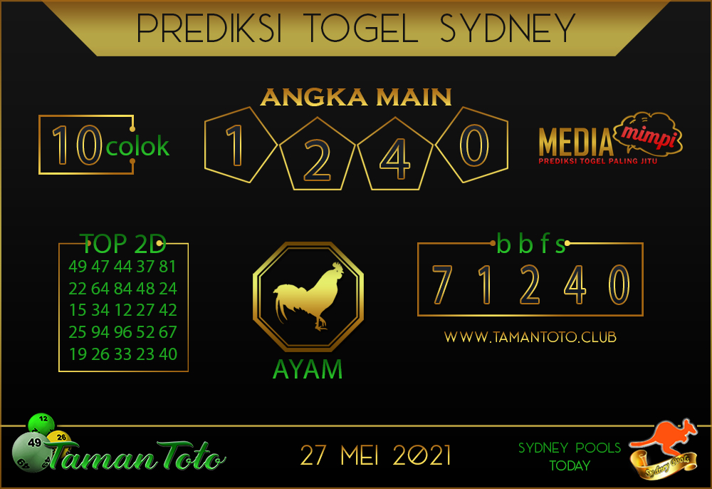 Prediksi Togel SYDNEY TAMAN TOTO 27 MEI 2021