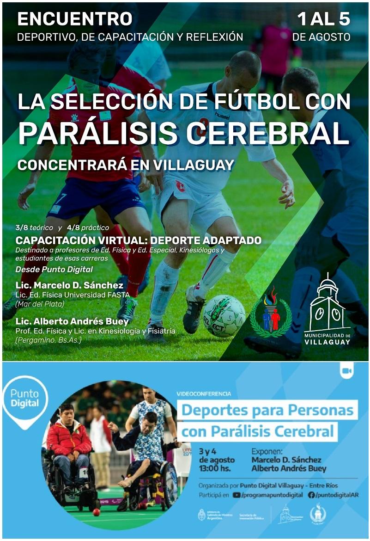 Entrena en Villaguay la Selección Argentina de Fútbol con Parálisis Cerebral y habrá un curso sobre deportes adaptados