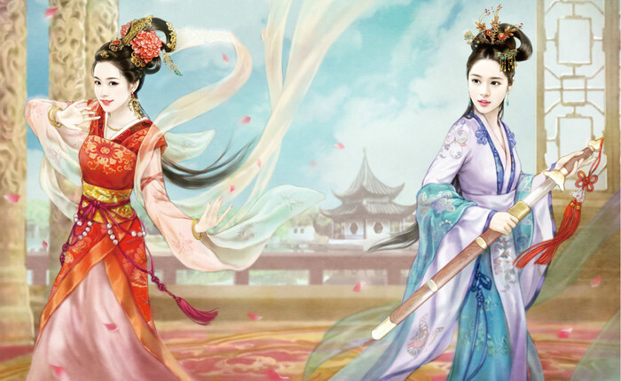 Yingtai (to the left) and Xiulan dancing.