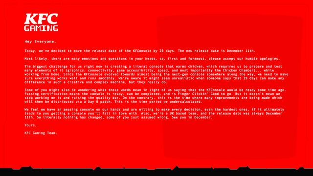 原定11月12日推出的次世代主機「KFConsole」宣佈延期至12月11日發售 Image