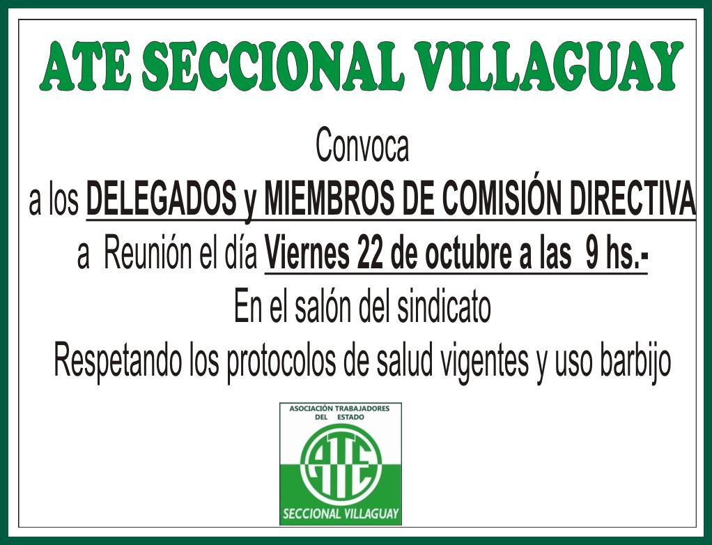 ATE SECCIONAL VILLAGUAY: Convocatoria a reuniòn de Delegados y Comisiòn Directiva