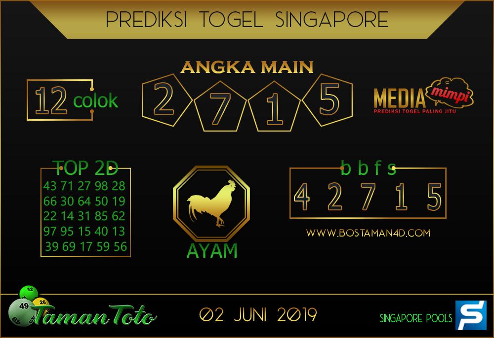 Prediksi Togel SINGAPORE TAMAN TOTO 02 JUNI 2019