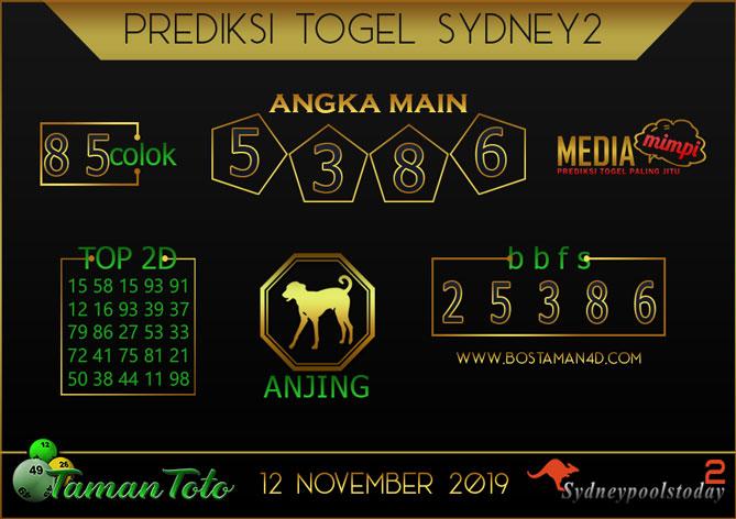Prediksi Togel SYDNEY 2 TAMAN TOTO 12 NOVEMBER 2019