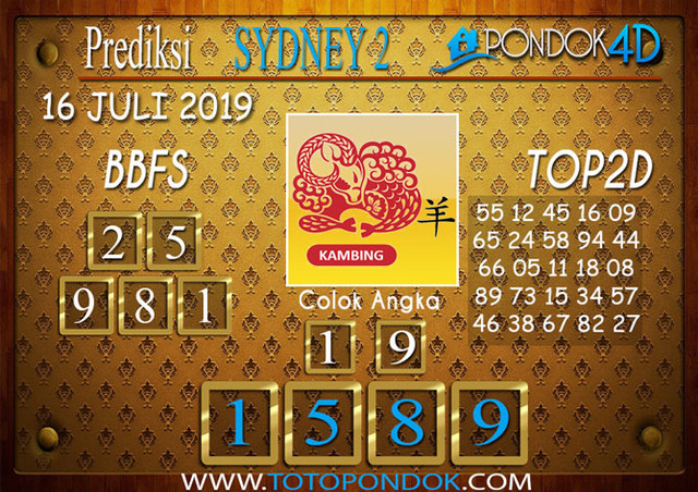 Prediksi Togel SYDNEY 2 PONDOK4D 16 JULI 2019