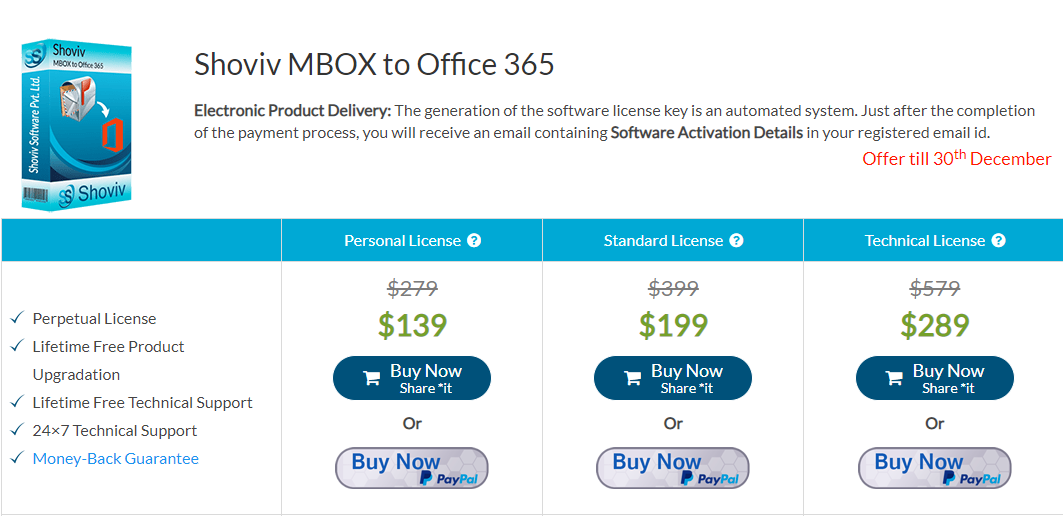 MBOX to Office 365 Price