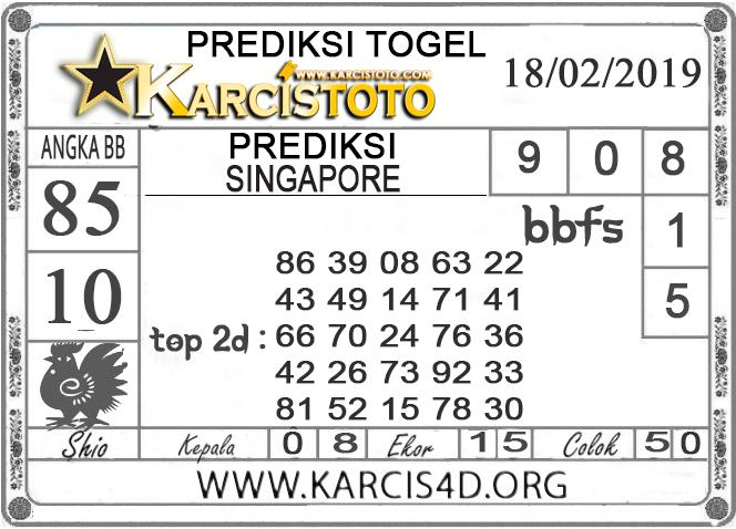 Prediksi Togel SINGAPORE KARCISTOTO 18 FEBRUARI 2019