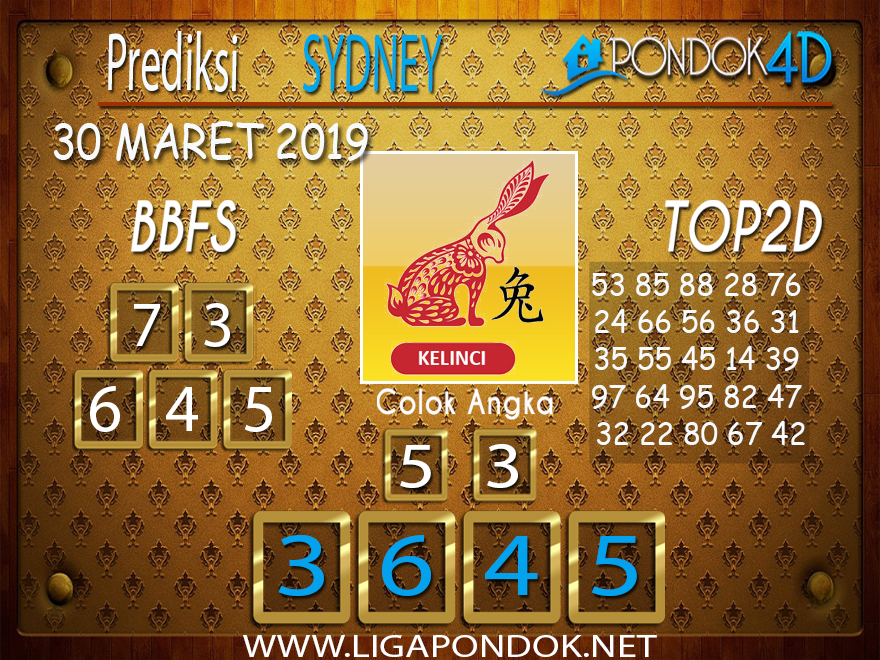 Prediksi Togel SYDNEY PONDOK4D 30 MARET 2019