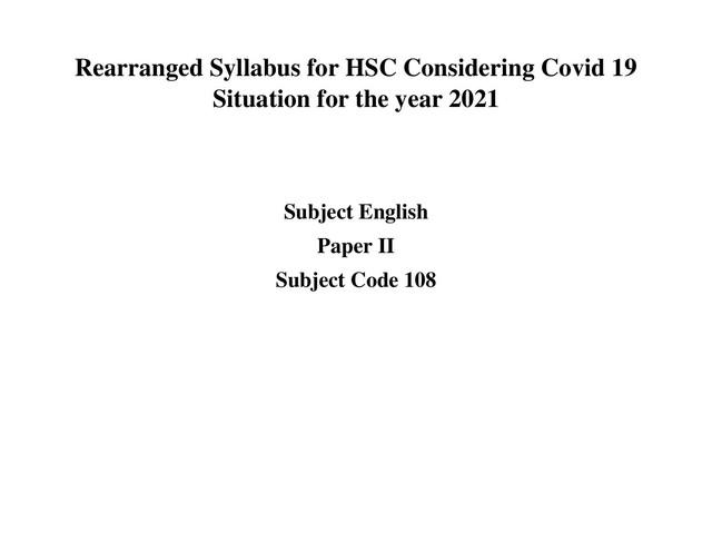 HSC English 2nd Paper Short Syllabus 2021