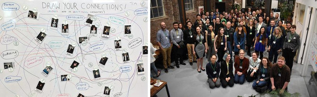 """Two photographs from Catalyst. The first is of a whiteboard with the words """"Draw Your Connections"""" at the top. Instant photos of people are on the board, and lines are drawn between them and various words on the board (e.g. """"synthetic biology""""). The second photo is a group photo of all the attendees standing together."""