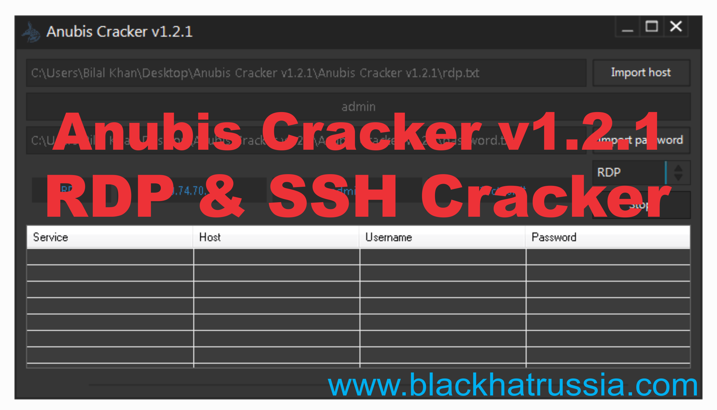 ANUBIS CRACKER V.1.2.1 BRUTE FORCE SSHRDP