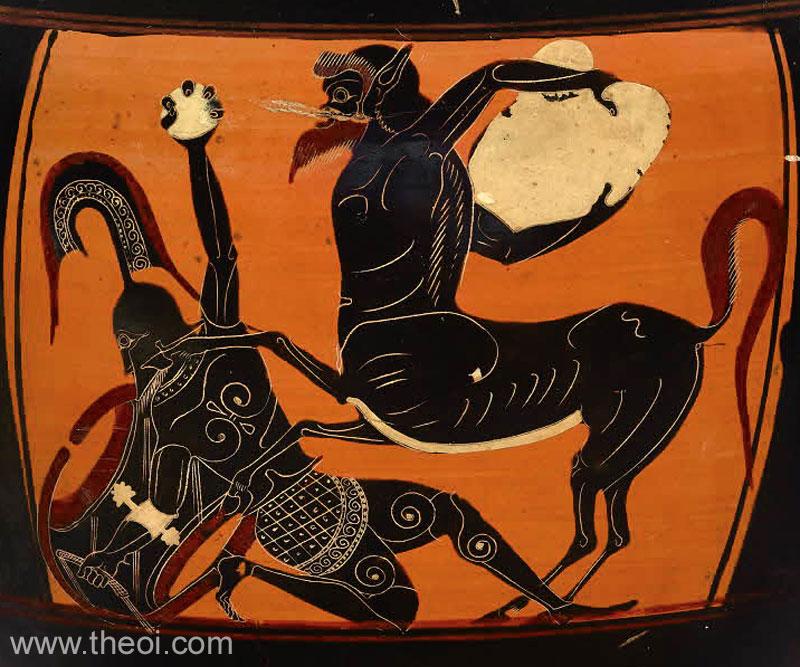 Um centauro e Ceneu