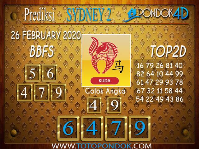 Prediksi Togel SYDNEY 2 PONDOK4D 26 FEBRUARY 2020