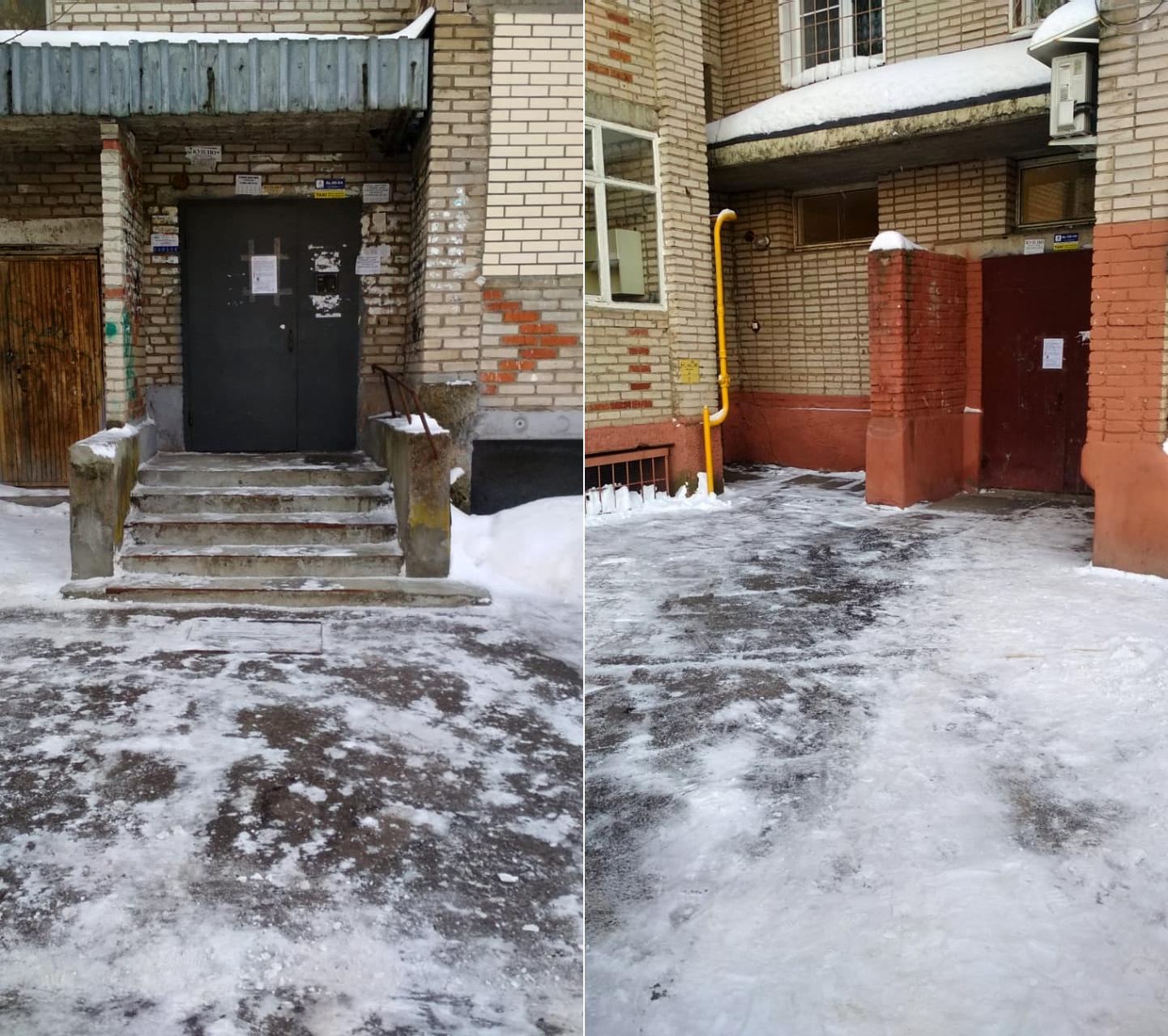 Очистили подходы к подъездам в микрорайоне Северный от снега и наледи