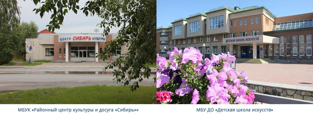 МБУК «Районный центр культуры и досуга «Сибирь»»; МБУ ДО «Детская школа искусств»