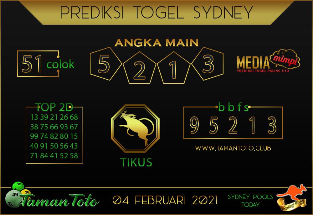 Prediksi Togel SYDNEY TAMAN TOTO 04 FEBRUARI 2021