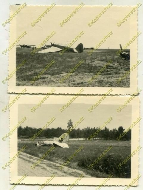 2x-Foto-Wehrmacht-zerst-rtes-russisches-Flugzeug-No7-Raum