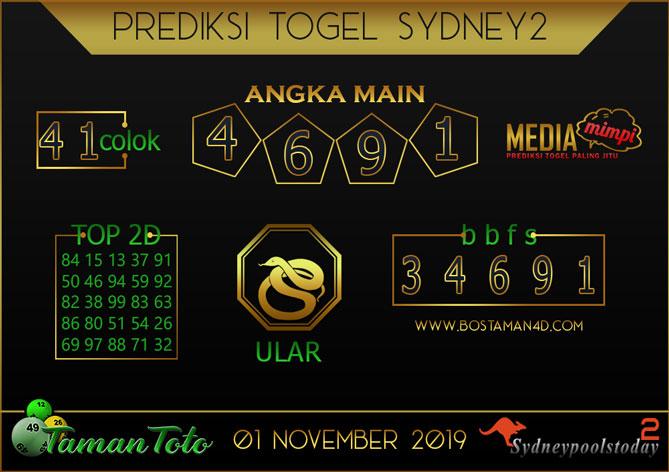 Prediksi Togel SYDNEY 2 TAMAN TOTO 01 NOVEMBER 2019