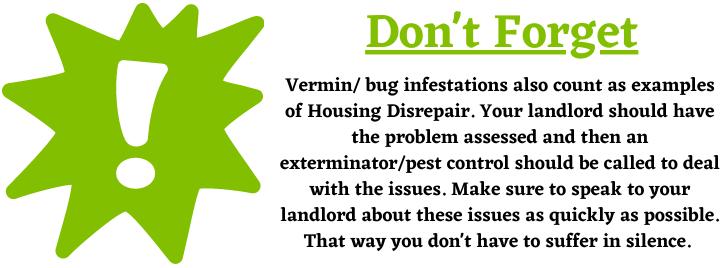 Vermin infestations and housing disrepair