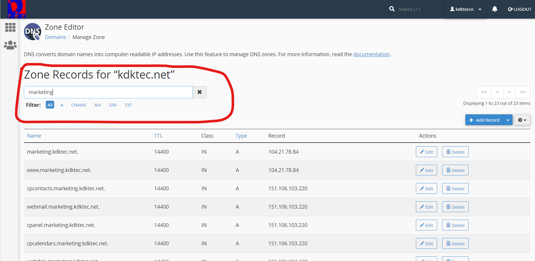 DNS Zone Editor domain search feature in cPanel